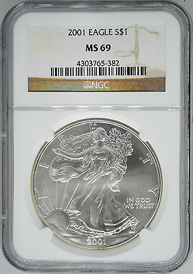 2001 NGC MS 69 $1 Silver American Eagle (Uncirculated 1 oz)