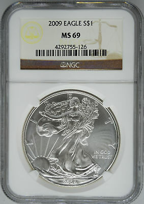 2009 NGC MS 69 $1 Silver American Eagle (Uncirculated 1 oz)
