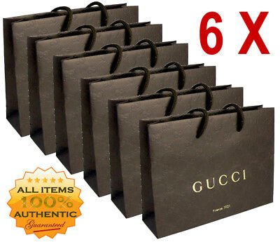 a2e54453a0cf 6 Brand New Authentic Brown Gucci Paper Cardboard Gift Bags Bag Lot