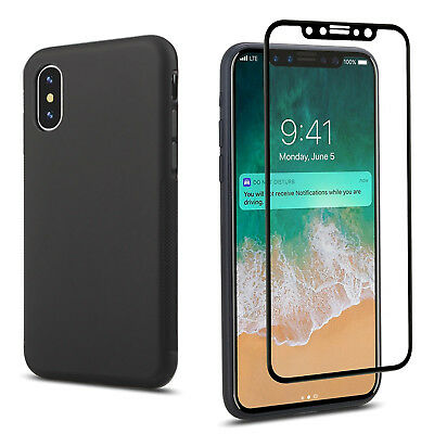 iPhone X FULL BODY Protection Glass Screen Protector+Matte TPU Case [FULL COVER]