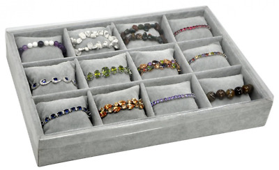 Jewelry Tray Velvet Watch Display Box 12 Slots grey plush Pillows Stackable