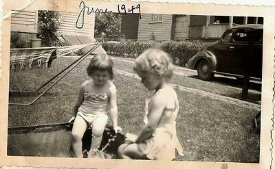 Antique Vintage Photograph Adorable Little Girls Sitting in Pool in Yard 1949