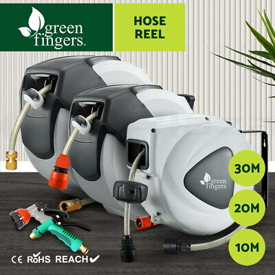 Greenfingers 10m 20m 30M Retractable Garden Water Hose Reel Spray Gun Rewind