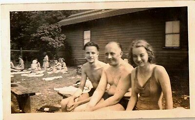 Old Antique Vintage Photograph People Wearing Bathing Suits Boiling Springs 1944