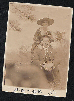 1917 Old Vintage Antique Photograph Couple with Great Old Hats