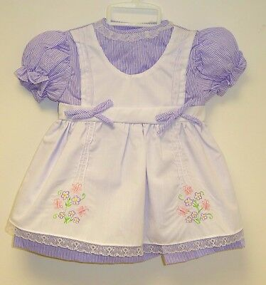 VINTAGE 1980's UNWORN GIRLS LILAC & WHITE FLORAL EMBROIDERED DRESS AGE 12 MONTHS