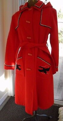 VINTAGE Northern-Sun by Gemini Canadian Lined Long Red Wool Hooded Coat Size 12