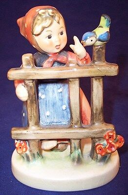 """Hummel Goebel """"Signs of Spring"""" Girl at Fence Figurine #203 2/0 TMK4 with REPAIR"""