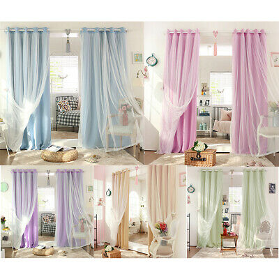 2-in-1 Solid Color Curtains Window Blinds Drape with Grommets Top for Home Decor
