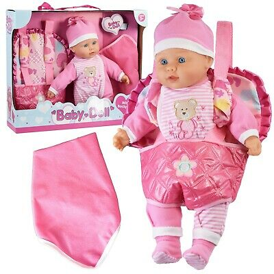 Baby Doll With Doll Carrier Backpack Carry Bag And Baby Sounds Pretend Play Toy