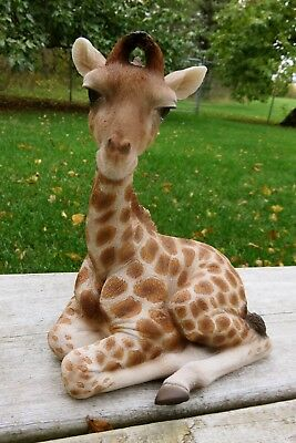 Baby Giraffe Figurine Statue Resin Pet African Animal Laying Down Ornament New