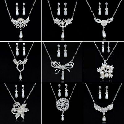 Silver Pearl Crystal Flower Earrings Necklace Jewelry Set Wedding Bridal Gift