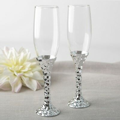 10 Silver Plated Hammered Stem Glass Champagne Bridal Wedding Toasting Flutes