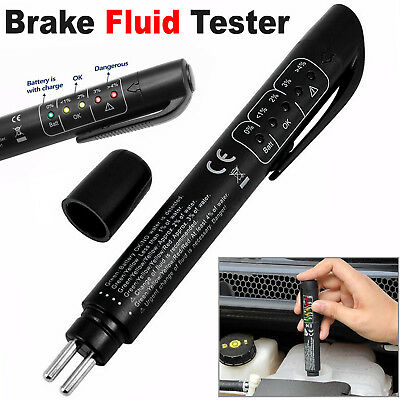 Brake Fluid Tester Pen LED Moisture Water Compact Tool Test Indicator DOT3 DOT4