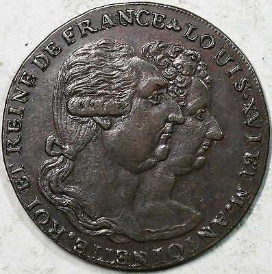 1793 Louis XVI & Marie Antoinette 1/2 Penny Conder Middlesex DH 995a (15120602S)