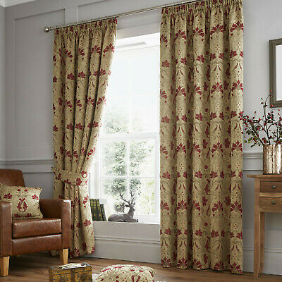 Luxury Ready Made Pencil Pleat Curtains Burford Red & Gold