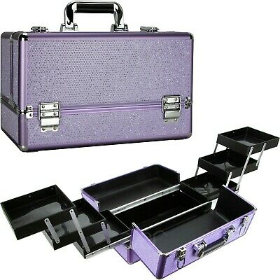Ver Beauty Professional Train Makeup Case with 6 Extendable Trays, Key locks