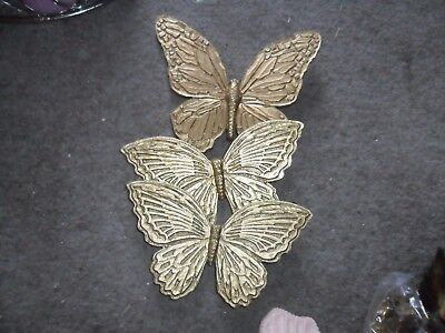 homco plastic gold color hanging butterflies