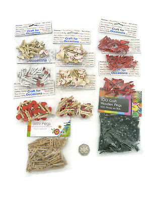 Job Lot 11 Packs Assorted Small Mini 25mm Craft Wooden Pegs with embellishments