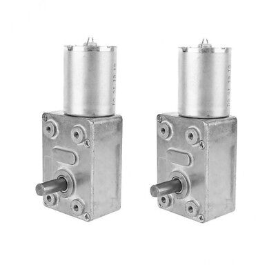 Pack of 2 Gearbox Worm Gear DC Motor Reducer 12V High Torque Turbine 10RPM