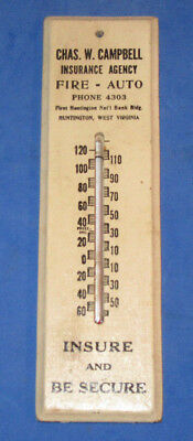 Antique Wooden Advertising Thermometer Chas. Campbell, Insurance, Huntington,wv