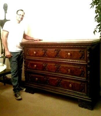 Stunning Antique 17th century Italian Baroque Carved Walnut Chest of Drawers