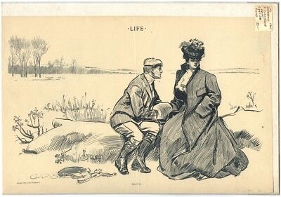 Rare Antique Original Vintage 1900 Life Melting Gibson Illustration Art Print