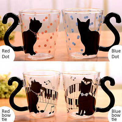 Creative Cat Handle Glass Mug Tea Cup Milk Cup Coffee Clear Glass Cup Xmas Gift