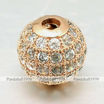 10 x Real Rose Gold Plated Round Brass Micro Pave Cubic Zirconia Beads Craft 8mm