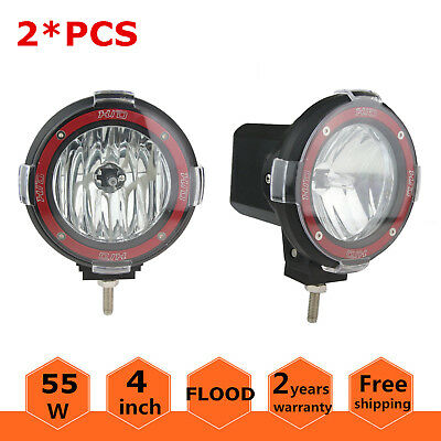 2X 4inch 55W HID Xenon Lamp Round Flood Light 12V Off-road Driving UTE SUV Jeep
