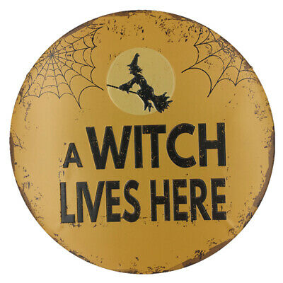 Round Tin Sign Plaque Pub Poster Home Vintage Tavern Shop A WITCH LIVES HERE