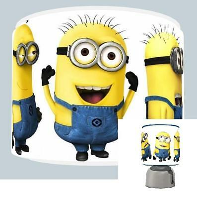 """Minions Kids Ceiling Light Shade 11"""" + Bedside Touch Lamp  Bedroom Free  P & P"""