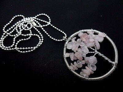 "A Large Pink Jade Chips Silver Plated  Tree Of Life Themed Necklace. 27"" Long."
