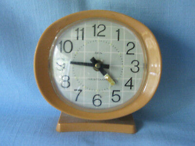 Vintage Mid Century Westclox Ben Alarm Clock Wind Up Orange Case Works Great