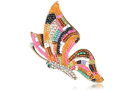 Crystal Elements Multi-Coloured Beaded AB Accent Butterfly Pin Brooch