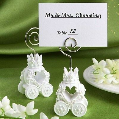 75 White Heart Royal Coach Place Card Holder Wedding Bridal Shower Party Favors