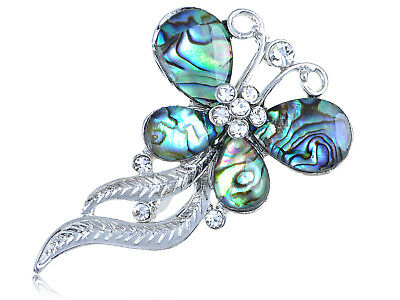Silver Tone Round Abalone Shell Butterfly Wavy Feather Dangle Tail Pin Brooch