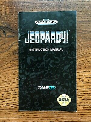 Jeopardy Sega Genesis Game Instruction Manual Only