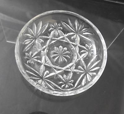 "Vintage Anchor Hocking Coaster Prescut Clear Glass Oatmeal Star Fan 3 3/4"" W18"
