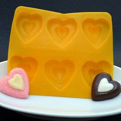 Cream Cheese Mint Candy Rubber Mold -Heart- 6 cavity cake decorating flexible