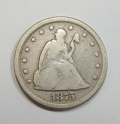 BARGAIN 1875-S Liberty Seated Twenty-Cent Piece VERY GOOD Silver 20-Cents