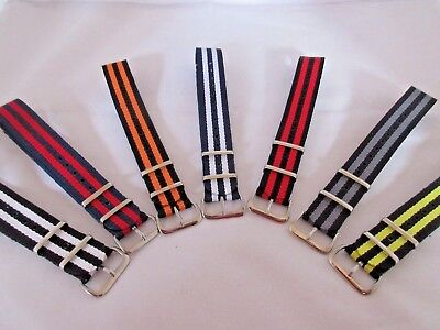 STRIPED NYLON ONE PIECE MILITARY WATCH STRAPS 18mm,20mm,22mm SILVER BUCKLE