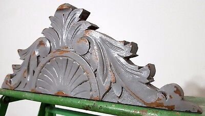 """Shabby Hand Carved Wood Pediment 13"""" Antique French Crown Architectural Salvage"""