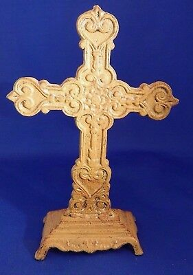 Vintage Freestanding Decorative Cast Iron Cross 8-1/2 Inches Tall