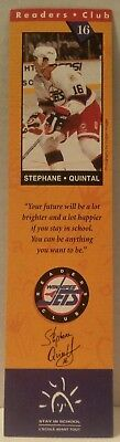 WINNIPEG JETS Readers Club BOOKMARK Hockey BOOKS Education NHL Stephane Quintal