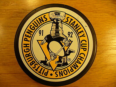 NHL Pittsburgh Penguins '92 Stanley Cup Champs Logo Hockey Puck Collect Pucks