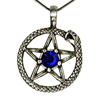 "Snake as a sun with pentagram & 1 central ground cutted ""BLUE"" Glass stone"