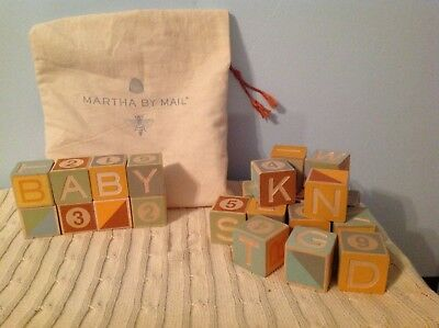 Martha Stewart * Martha By Mail Wooden Baby Building Blocks ABC 123 Vintage Look