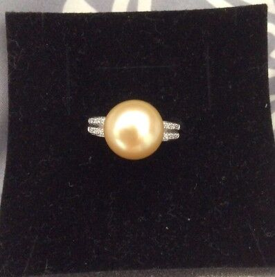 Perlfekt Ring Südseeperle champagnerf., 11-12 mm Button, WG585, Gr. 17, Qvc