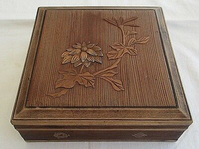 Vintage  Empty Carved Lidded Wooden Box